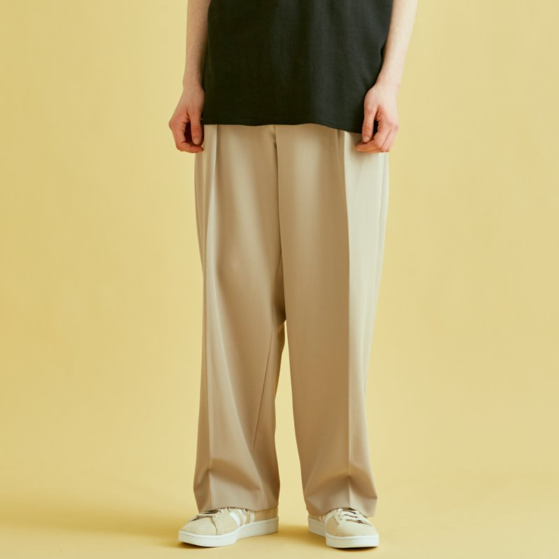 PLEAT WIDE SLACKS (BEIGE)