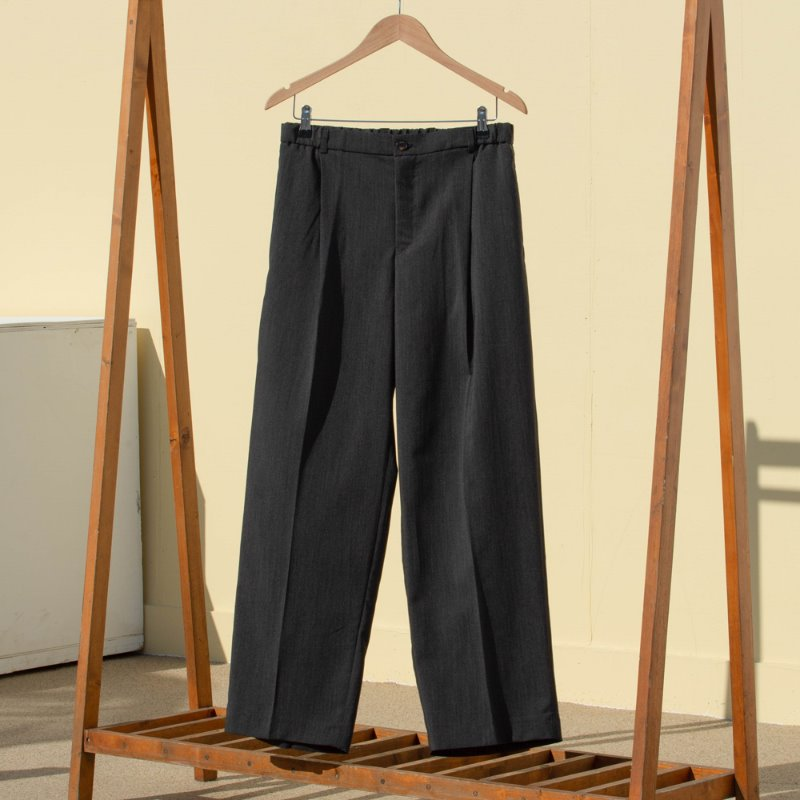 CHILLY WIDE SLACKS-summer airy (CHARCOAL)