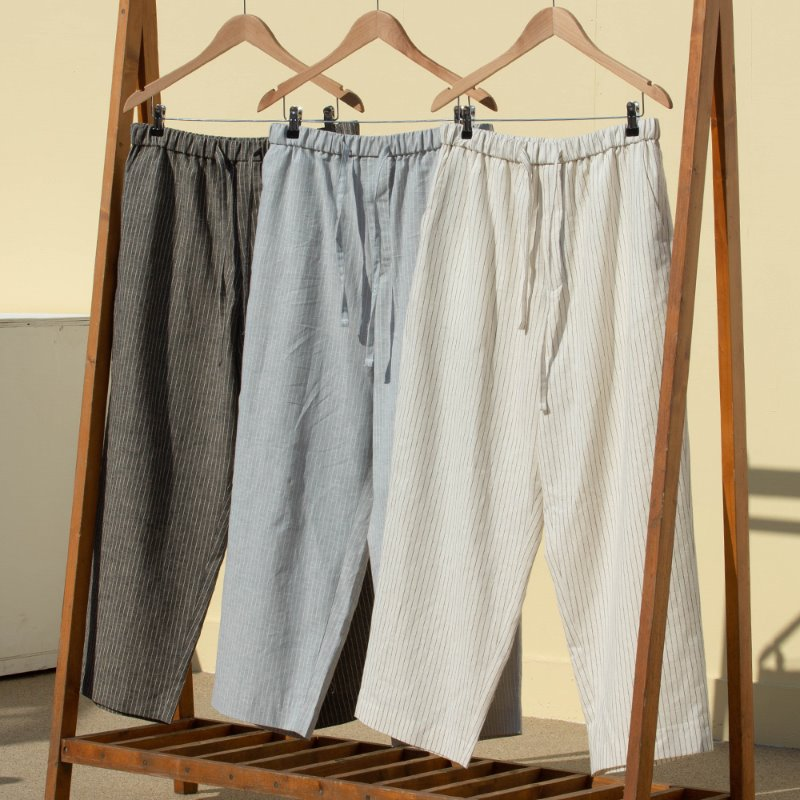 SIMULATE LINEN AMPLE PANTS-stripe (3color)