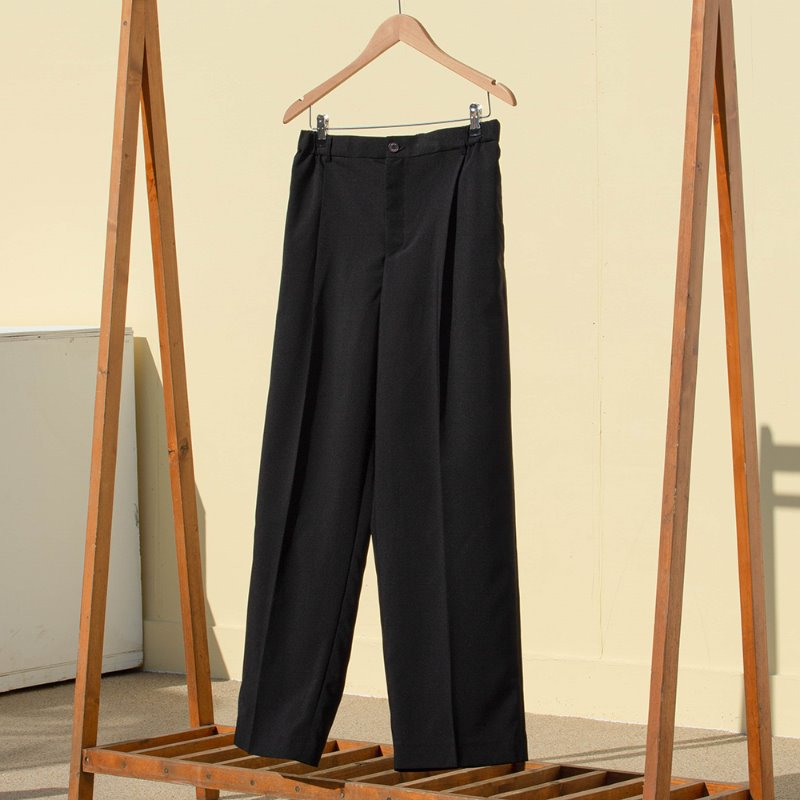 CHILLY WIDE SLACKS-summer airy (BLACK)