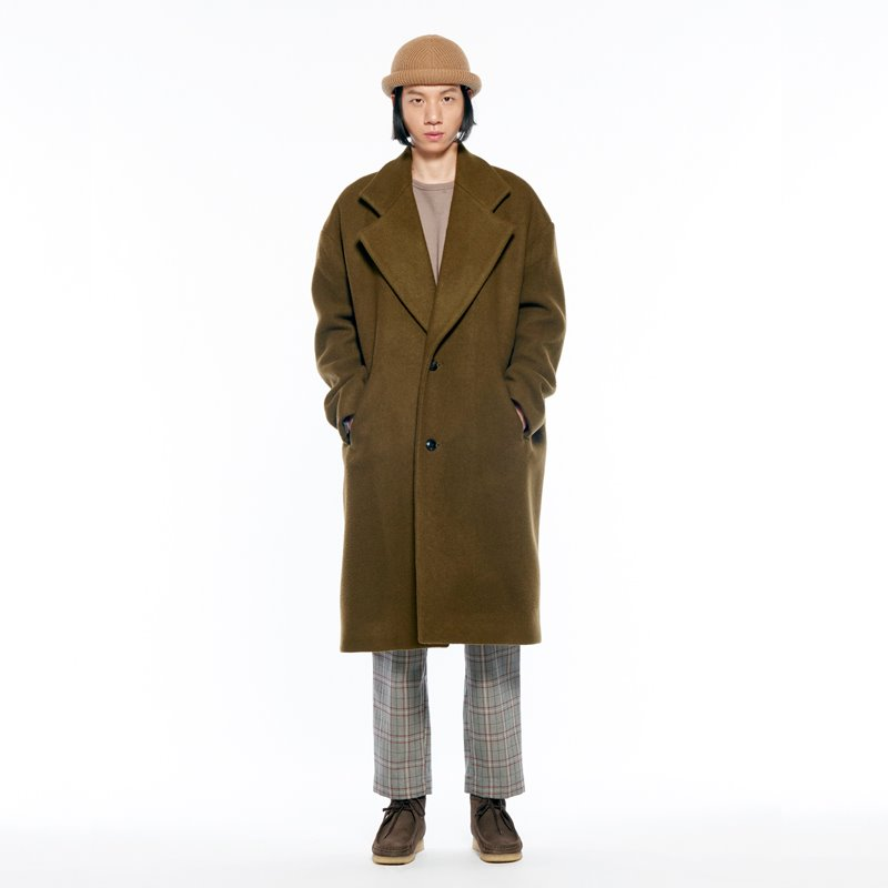 ROOMY WOOL OVER COAT-all soft (FIR GREEN)