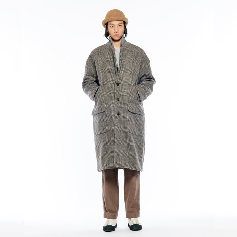 GLEN CHECK WOOL OVER COAT-Tobacco