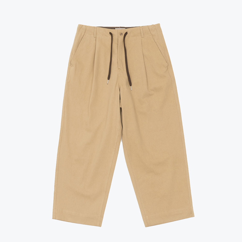 SOLID COTTON WIDE PANTS(BEIGE)