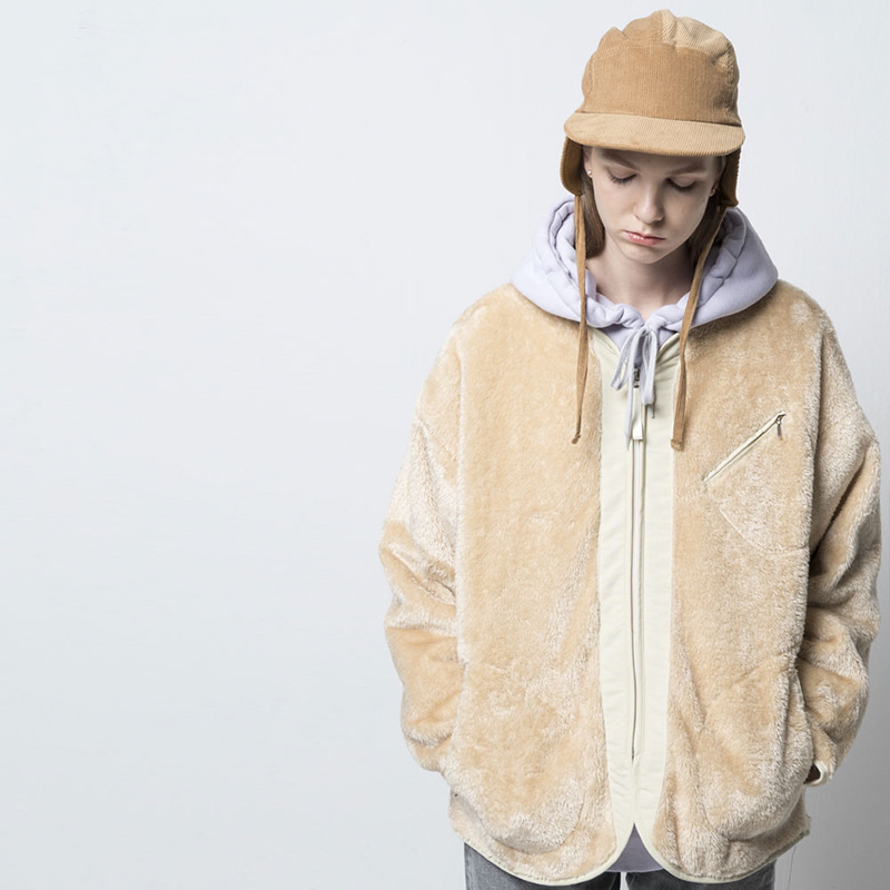 COLLARLESS FLEECE ZIPUP(BEIGE)