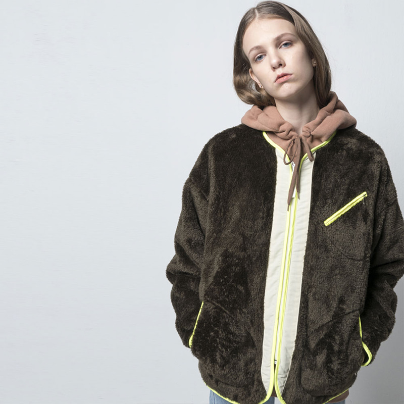COLLARLESS FLEECE ZIPUP(KHAKI)