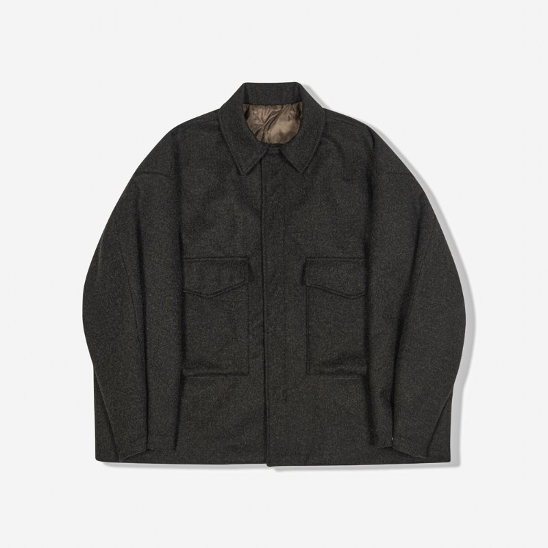 WOOLEN AMPLE UTILITY JACKET (CHARCOAL)