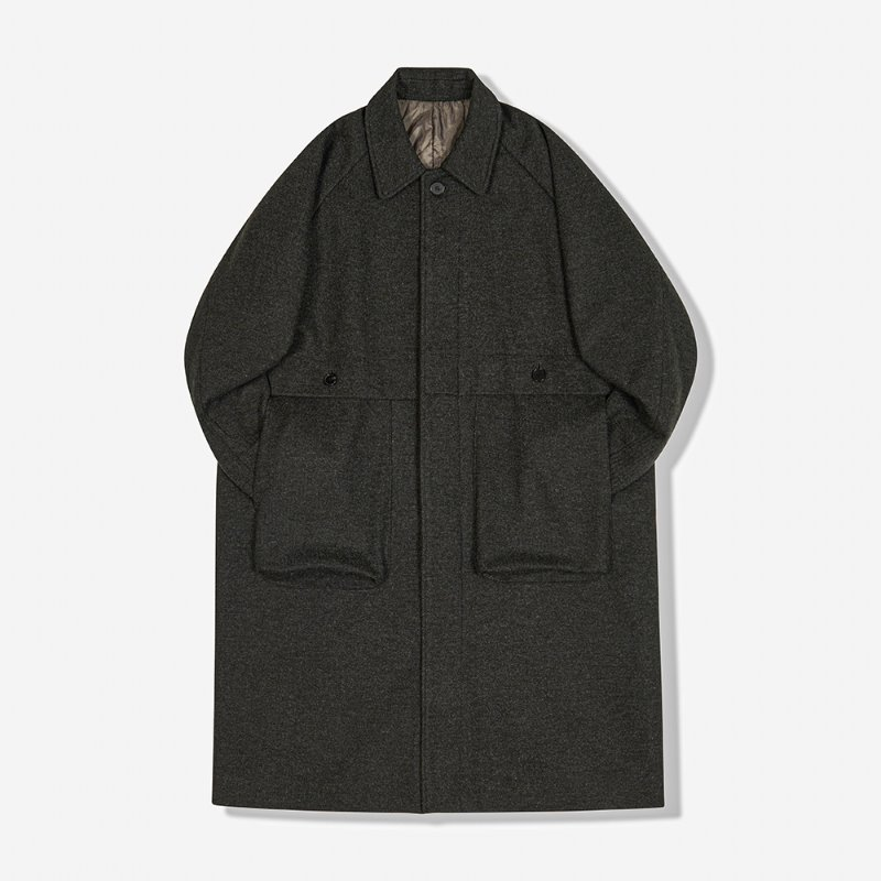 WOOLEN AMPLE LID COAT (CHARCOAL)